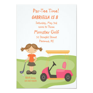 Cute Golf Girls Party Invitation
