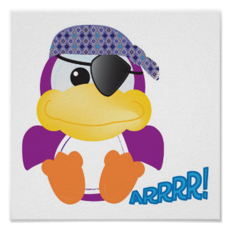 Cute Goofkins purple pirate ducky Posters