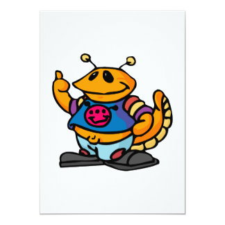 Cute Goofy Alien 13 Cm X 18 Cm Invitation Card