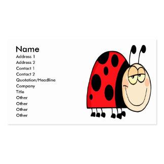 cute goofy cartoon grinning little ladybug business card template