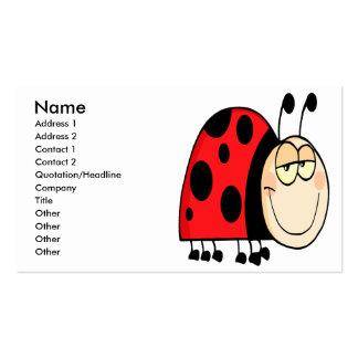 cute goofy cartoon grinning little ladybug business card