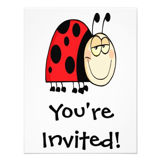 cute goofy cartoon grinning little ladybug personalized announcements