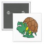 cute goofy cartoon turtle character button