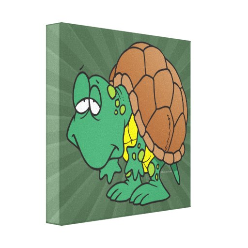cute goofy cartoon turtle character stretched canvas prints