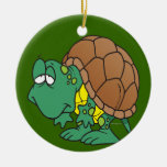 cute goofy cartoon turtle character christmas tree ornament