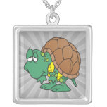 cute goofy cartoon turtle character necklace