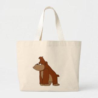 Cute gorilla large tote bag