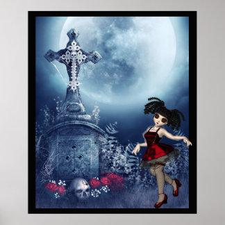 Cute Goth girl dancing in the graveyard Poster