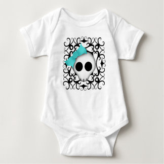 Cute goth punk skull with blue bow on black swirls baby bodysuit