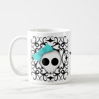 Cute goth punk skull with blue bow on black swirls basic white mug