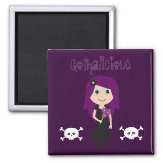 Cute Gothalicious Goth Girl With Skulls Refrigerator Magnet