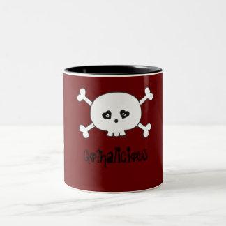 Cute Gothalicious Goth Girls With Flowers & Skull Two-Tone Coffee Mug