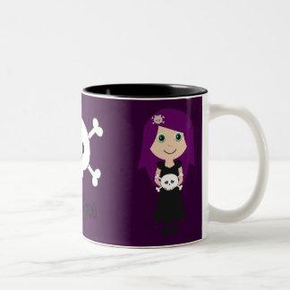 Cute Gothalicious Goth Girls With Skulls Two-Tone Coffee Mug