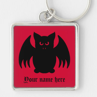 Cute gothic black vampire bat key ring