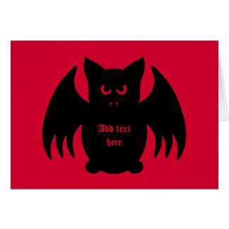 Cute gothic black vampire bat note card