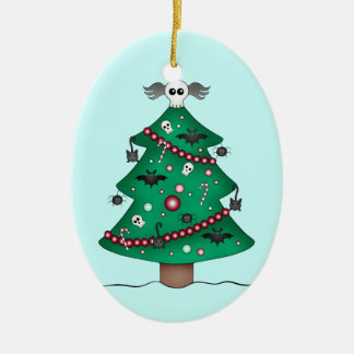 Cute gothic Christmas tree Ceramic Oval Decoration