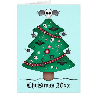 Cute gothic Christmas tree Greeting Card
