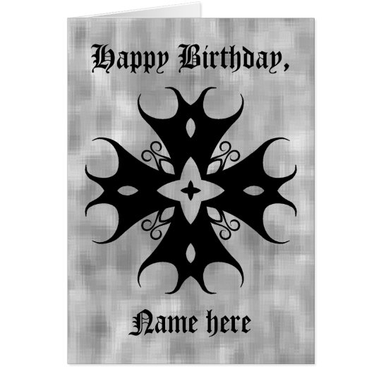 Cute gothic cross on grey birthday to personalise