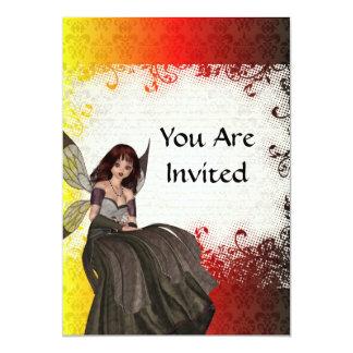 Cute Gothic fairy 13 Cm X 18 Cm Invitation Card