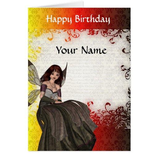 Cute Gothic fairy  birthday Greeting Card