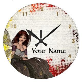 Cute Gothic fairy Large Clock