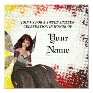 Cute Gothic fairy sweet sixteen 13 Cm X 13 Cm Square Invitation Card