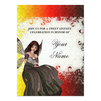 Cute Gothic fairy sweet sixteen 14 Cm X 19 Cm Invitation Card