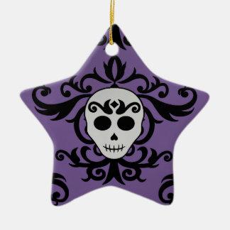 Cute gothic glam girly skull damask black purple ceramic star decoration