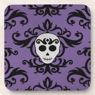 Cute gothic glam girly skull damask black purple beverage coasters