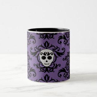 Cute gothic glam girly skull damask black purple Two-Tone coffee mug