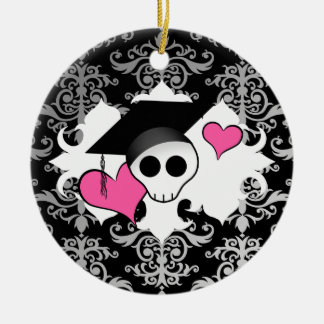 Cute gothic graduation skull round ceramic decoration