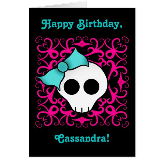 Cute gothic skull birthday for tween or teen