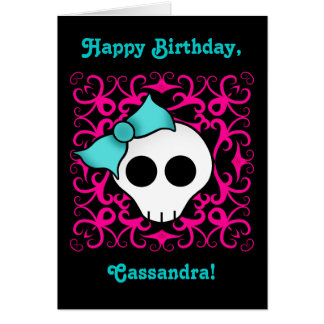 Cute gothic skull birthday for tween or teen girl greeting card