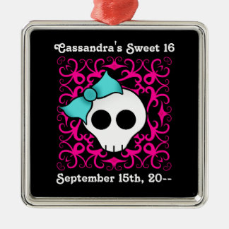 Cute gothic skull birthday keepsake sweet 16 christmas ornament