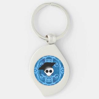 Cute gothic skull graduation keychain