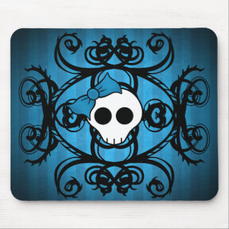 Cute gothic skull on blue and black mouse mat