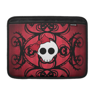 "Cute gothic skull on red and black 13"" sleeve for MacBook air"