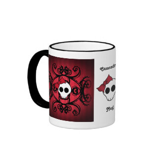 Cute gothic skull on red and black mug
