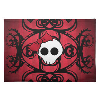 Cute gothic skull on red and black placemat