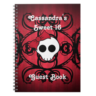 Cute gothic skull on red and black square sweet 16 notebook