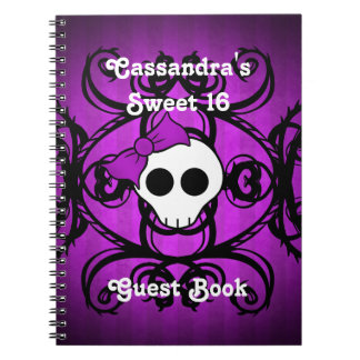 Cute gothic skull purple and black square sweet 16 notebook