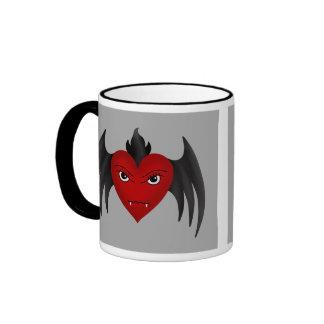 Cute gothic winged vampire heart mug