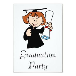 Cute Graduating Girl 13 Cm X 18 Cm Invitation Card