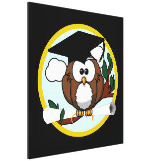 Cute Graduation Owl With Cap & Diploma on Black Gallery Wrap Canvas