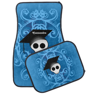 Cute graduation skull to personalize floor mat