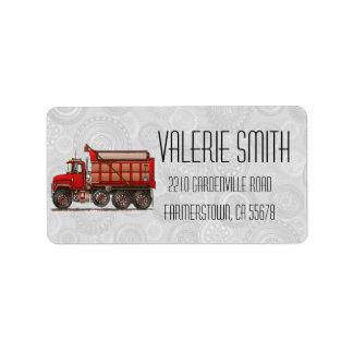 Cute Gravel Dump Truck Address Label