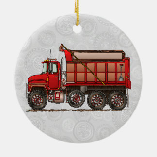Cute Gravel Dump Truck Christmas Ornament