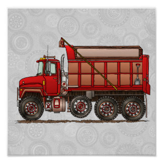 Cute Gravel Dump Truck Print