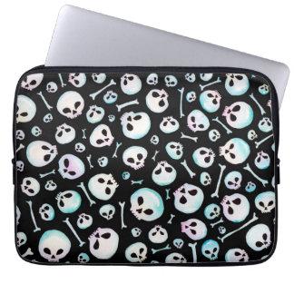 Cute graveyard / pastel goth skull halloween bones laptop sleeve