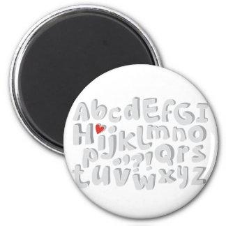 cute gray alphabet pattern magnet